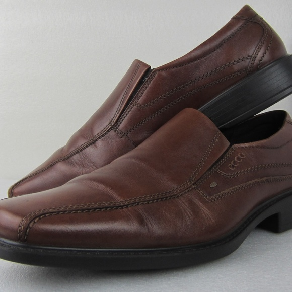 Ecco Helsinki Mens Leather Slip on Shoes In Black Size UK 6-12